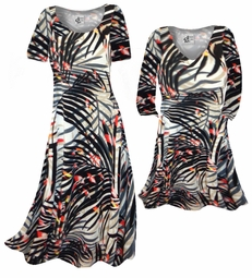 SOLD OUT! CLEARANCE! Orange & Black Sunset Fern Leaves Slinky Plus Size & Supersize Dress 0x