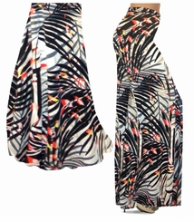 SOLD OUT! CLEARANCE! Orange & Black Sunset Fern Leaves Slinky Print Plus Size Skirt 1xT
