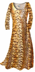 SOLD OUT! CLEARANCE! Orange, Brown and Yellow Autumn Leaves Metallic Slinky Print Plus Size & Supersize Dress 1x