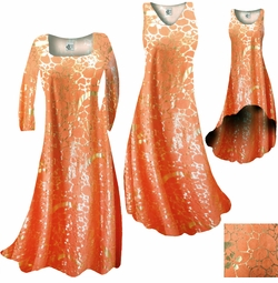 SOLD OUT! CLEARANCE! Orange & Gold Metallic Shiny Slinky Print Plus Size & Supersize Standard or Cascading A-Line Dress 1x