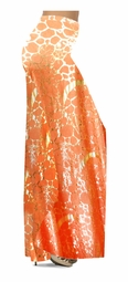 SOLD OUT! CLEARANCE! Orange & Gold Metallic Shiny Slinky Print Special Order Plus Size & Supersize Palazzos Pants! 1x