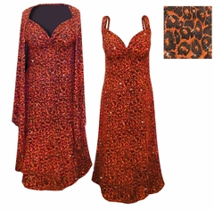 SOLD OUT! CLEARANCE! 2-Pc Black Slinky w/ Orange Leopard Glitter Petite Plus Plus Size & Supersize Princess Seam Dress Set 2x ONLY