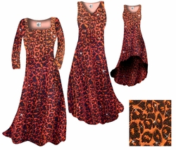 SOLD OUT! SALE! Orange Leopard Glittery Slinky Print Plus Size & Supersize A-Line Dresses 3x