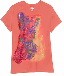 SOLD OUT! Just Reduced! Orange Pretty Peacock Glittery Plus Size T-Shirt