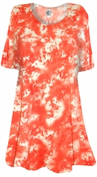 SOLD OUT! SALE! Orange Tie Dye Print Plus Size Supersize T-Shirt 5x