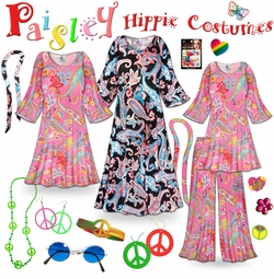 FINAL CLEARANCE SALE! Paisley Print Hippie Costume - 60�s Style Retro Dress or Top & Wide-Bottom Pant Set Plus Size & Supersize Halloween Costume Kit 0x