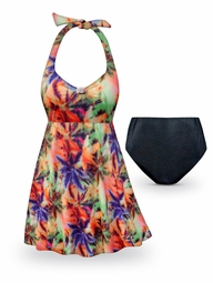CLEARANCE! Palm Sunset Print Halter Style Plus Size Swimsuit / SwimDress 0x 1x