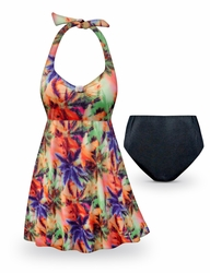 SOLD OUT! CLEARANCE! Palm Sunset Print Halter or Straps Style Plus Size Swimsuit / SwimDress 0x 1x