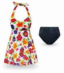 SOLD OUT! CLEARANCE! Pansy Dance Print Halter Style 2pc Plus Size Swimsuit / SwimDress 6x