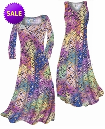 SOLD OUT! Pastel Rainbow Squares Print Slinky Plus Size & Supersize A-Line Dress 1x
