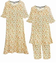 SOLD OUT! Pastel Yellow With Tiny Orange Flowers Print Plus Size Supersize Moo Moo Dress