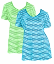 SOLD OUT! SALE! Perfect Dot V-Neck Plus Size Tee T-Shirt Blue/White or Green/White 3x