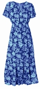 SALE! Periwinkle Print Smocked Peasant Plus Size Dress 4x