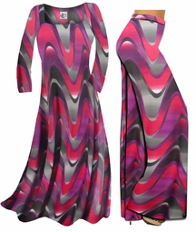 SOLD OUT! FINAL SALE! Pink and Purple Zig Zag Swirls Print Slinky Plus Size Palazzo Pants 1x