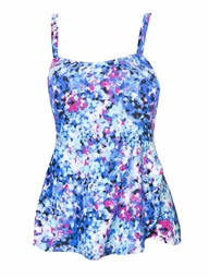 SOLD OUT! SALE! Pink & Blue Dots Print Sarong Style Plus Size Swimsuit 3x