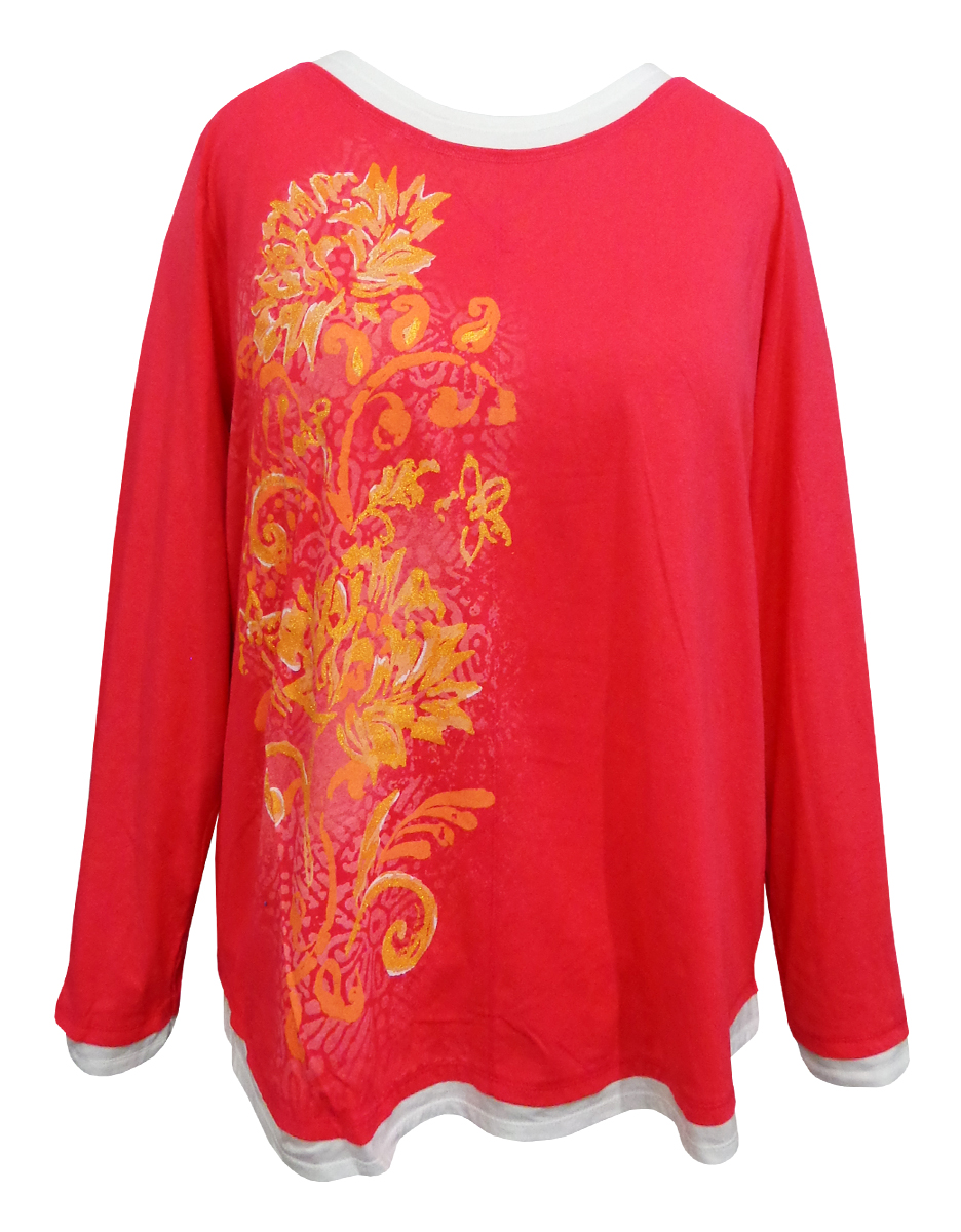 Sale Pink Floral Glittery Long Sleeve Plus Size Shirt 3x 4x