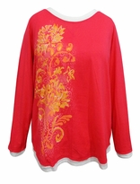 SALE! Pink Floral Glittery Long Sleeve Plus Size Shirt 3x 4x