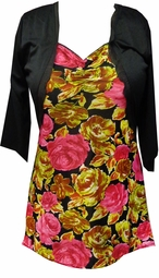 SOLD OUT!  Pink & Green Floral Top With Attached Black Shrug Jacket Plus Size Top 1x