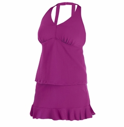 SOLD OUT! Sold Out! Pink or Sapphire H-back Ruffled Tankini Plus Size Swimsuit 4X