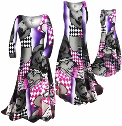 SOLD OUT! FINAL SALE! Pink Purple & Black Slinky Crepe Plus Size & Supersize Standard & Tall Dress and Shirt 2x