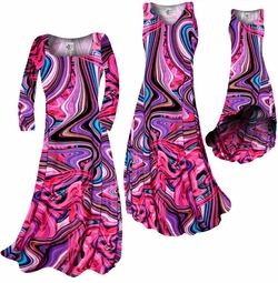 SOLD OUT! Pink & Purple Bright Waves Slinky Print Plus Size & Supersize Standard A-Line Dress 1x