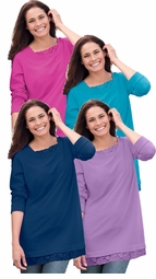 SALE! Pink, Purple, Teal, or Navy Blue Soft Knit Lace Trim Plus Size Sweatshirt 4x 5x