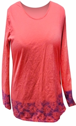 SOLD OUT! SALE! Hot Pink With Blue Tie Dye Lace Border Plus Size Long Sleeve Shirt 3xl