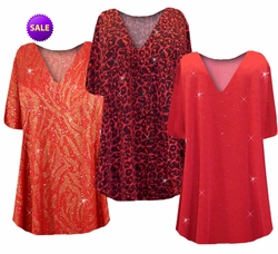 SOLD OUT! SALE! Plus Size A Line Tunic Tops Red w/Gold Zebra, Hearts, Black w/Ruby Leopard 3x