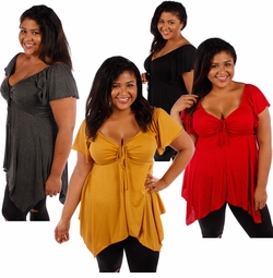SOLD OUT! Plus Size Black, Charcoal, Red or Mustard Open Chest Deep Neck Top 4x