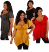 CLEARANCE SALE! Plus Size Black, Charcoal, Red or Mustard Open Chest Deep Neck Top 4x