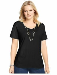 SOLD OUT! Plus Size Black Cotton V-Neck T-Shirt,