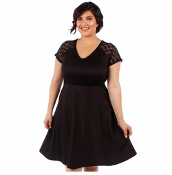 SALE! Plus Size Black Lace Short Sleeve Skater Dress 5x 6x