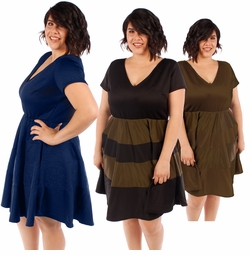 SALE! Plus Size Navy, Olive or Black & Olive Striped Skater V-Neckline Short Sleeve Dress 2x 3x 4x 5x