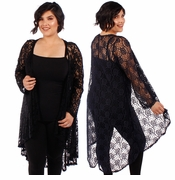 SALE! Plus Size Black or Navy Lace Kimono Cardigan 4x 5x 6x