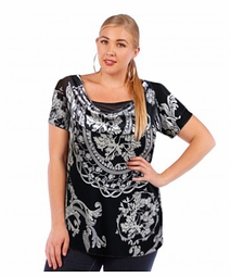 SOLD OUT! Plus Size Black & White Cowlneck Slinky Top