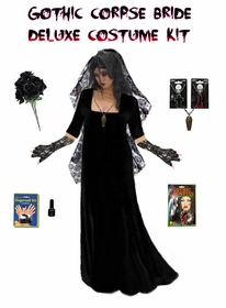SALE! Plus Size Corpse Bride or Plus Size Gothic Ghost Bride Costume Supersize in Black or Red + Accessory Kit! Lg XL 1x 2x 3x 4x 5x 6x 7x 8x 9x