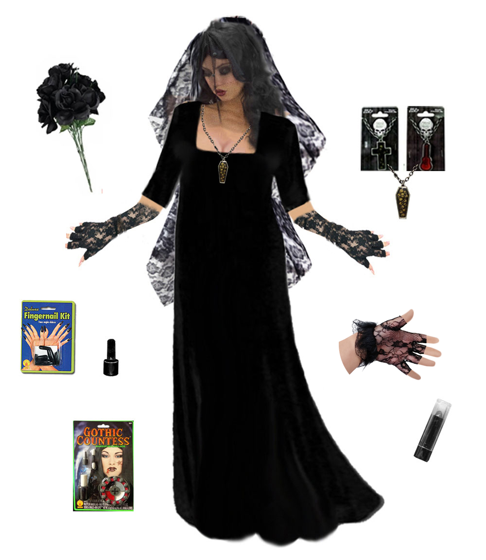 Plus Size Corpse Bride or Plus Size Gothic Ghost Bride Costume Supersize in Black  sc 1 th 241 & Plus Size Costumes
