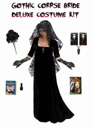 SOLD OUT! Plus Size Corpse Bride or Plus Size Ghost Bride Costume Supersize in Black or Red  + Accessory Kit! 0x 2xT