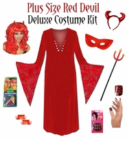 SALE! Plus Size Devil Costume + Accessory Kit! Plus Size & Supersize Halloween Costume Lg XL 1x 2x 3x 4x 5x 6x 7x 8x 9x