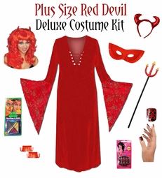 CLEARANCE! Plus Size Devil Halloween Costume + Accessory Kit! Plus Size & Supersize 0x 1x 2x 5x
