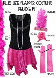 SOLD OUT! Plus Size Flapper Halloween Costume Black & Pink Roaring 20's Plus Size Flapper Costume Kit Plus Size & Supersize 4x