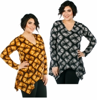 SALE! Plus Size Gray or Mustard Sharkbite V-Neckline Floral Pattern Long Sleeved Top  4x 5x 6x