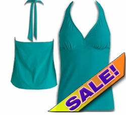 SOLD OUT! SALE! Plus Size Halter Tankini Swimsuit Top Solid Green 2x