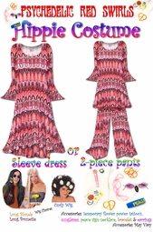 SOLD OUT! Hippie Costume Psychedelic Red Swirl Print - 60's Style Retro Top & Bell-Bottom Pant Set Plus Size & Supersize Halloween Costume Kit 1x 2x 4x 5x