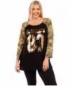 SALE! Plus Size Metallic Gold Camouflage Long Sleeve Top 5x