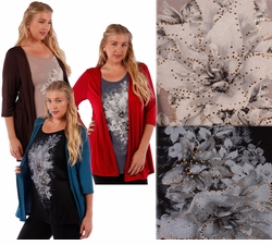 SOLD OUT! SALE! Plus Size Mock 2pc Jacket & Top! Lightweight Rayon/Lycra Blend in Red Teal or Brown Plus Size Shirts 5x