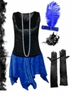 CLEARANCE! Plus Size Roaring 20's Black & Blue Flapper Halloween Costume - Plus Size & Super Size XL