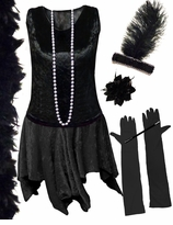 CLEARANCE! Plus Size  Roaring 20's Black Flapper Costume Plus Size & Supersize 3x 6x 7x 8x