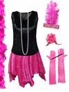 FINAL CLEARANCE SALE! Plus Size Roaring 20's Black & Pink Flapper Halloween Costume - Plus Size & Supersize Lg