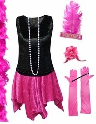 CLEARANCE! Plus Size Roaring 20's Black & Pink Flapper Halloween Costume - Plus Size & Supersize Lg